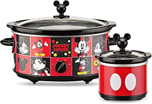 Disney DCM-502 Mickey Mouse Oval Slow Cooker with 20-Ounce Dipper, 5-Quart, Red/Black (Renewed)