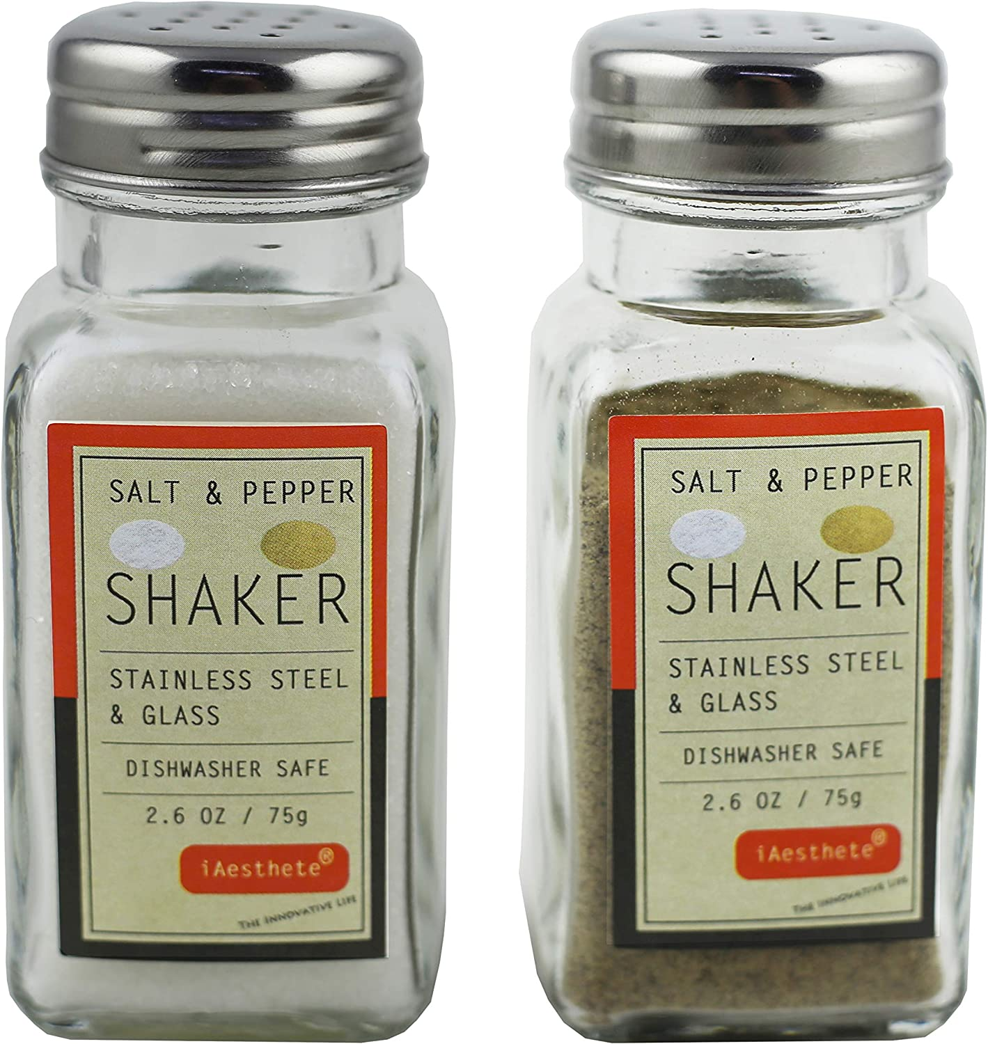 2 Pack - Salt and Pepper Shakers, Glass Bottle With Food Grade Stainless Steel Lid, Lead-Free Glass, For Home and Restaurant Uses, 2.6 OZ