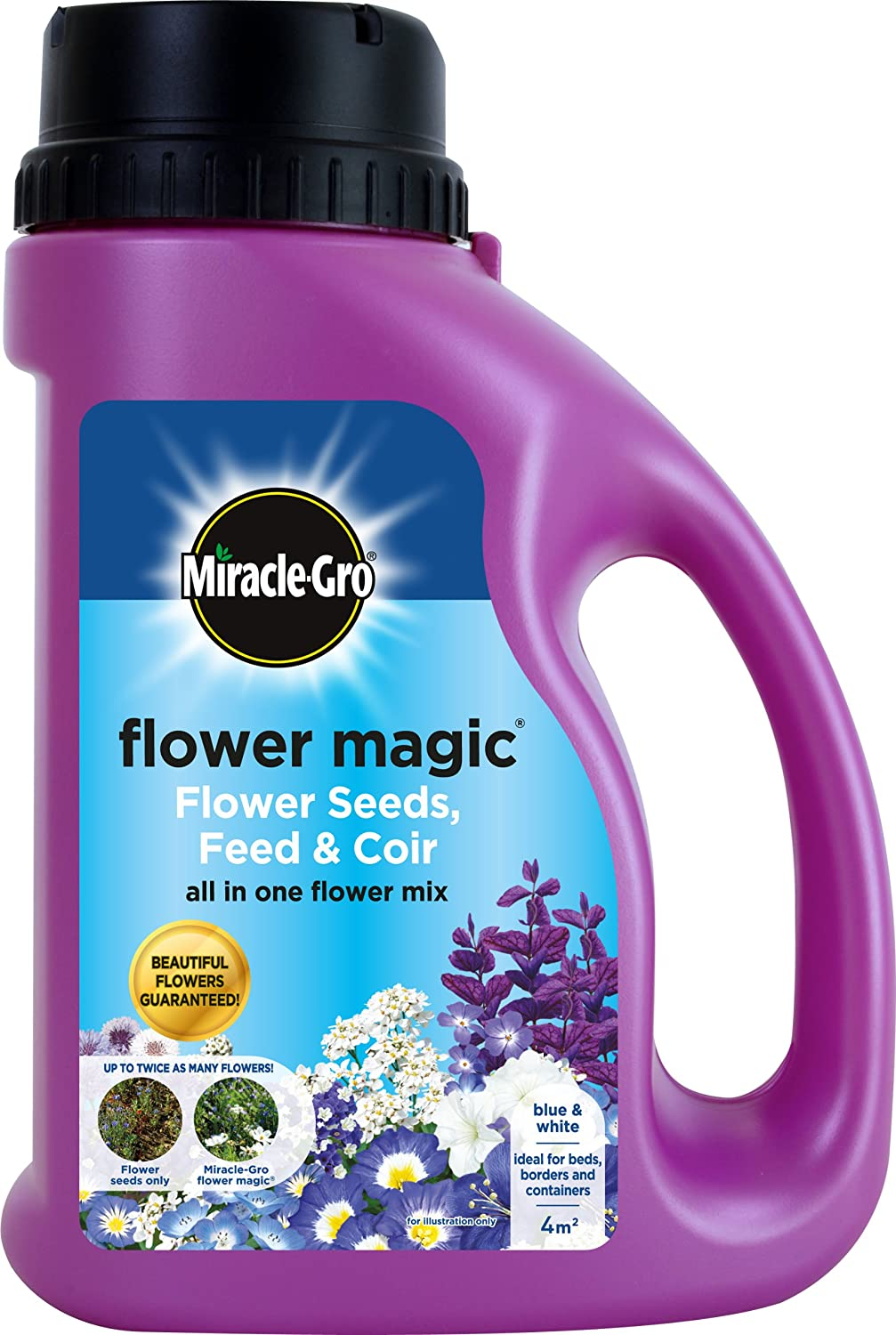miracle gro kg flower magic flower seeds feed and coir mix miracle gro 1kg flower magic flower seeds feed and coir mix jug blue white amazon co uk garden outdoors
