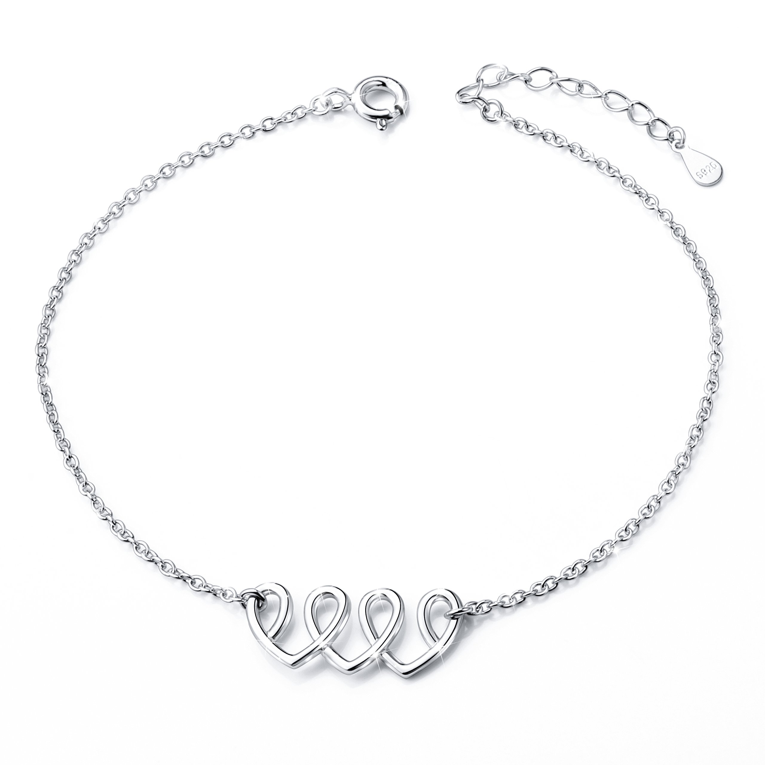 Heart Anklet for Women S925 Sterling Silver Adjustable Foot Ankle bracelet 10 Inch