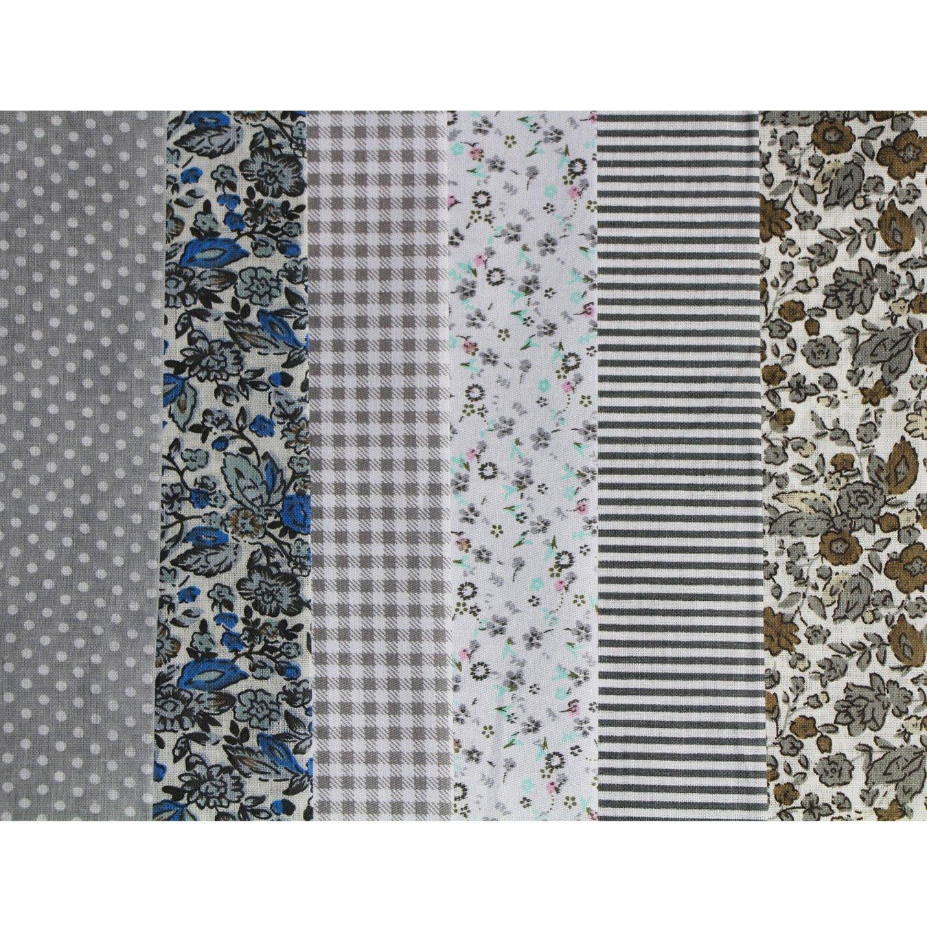 Tone-Gray 6pcs 50/x 50/cm dise/ño de retales algod/ón Tejido DIY hecho a mano Costura Quilting tela dise/ños diferentes