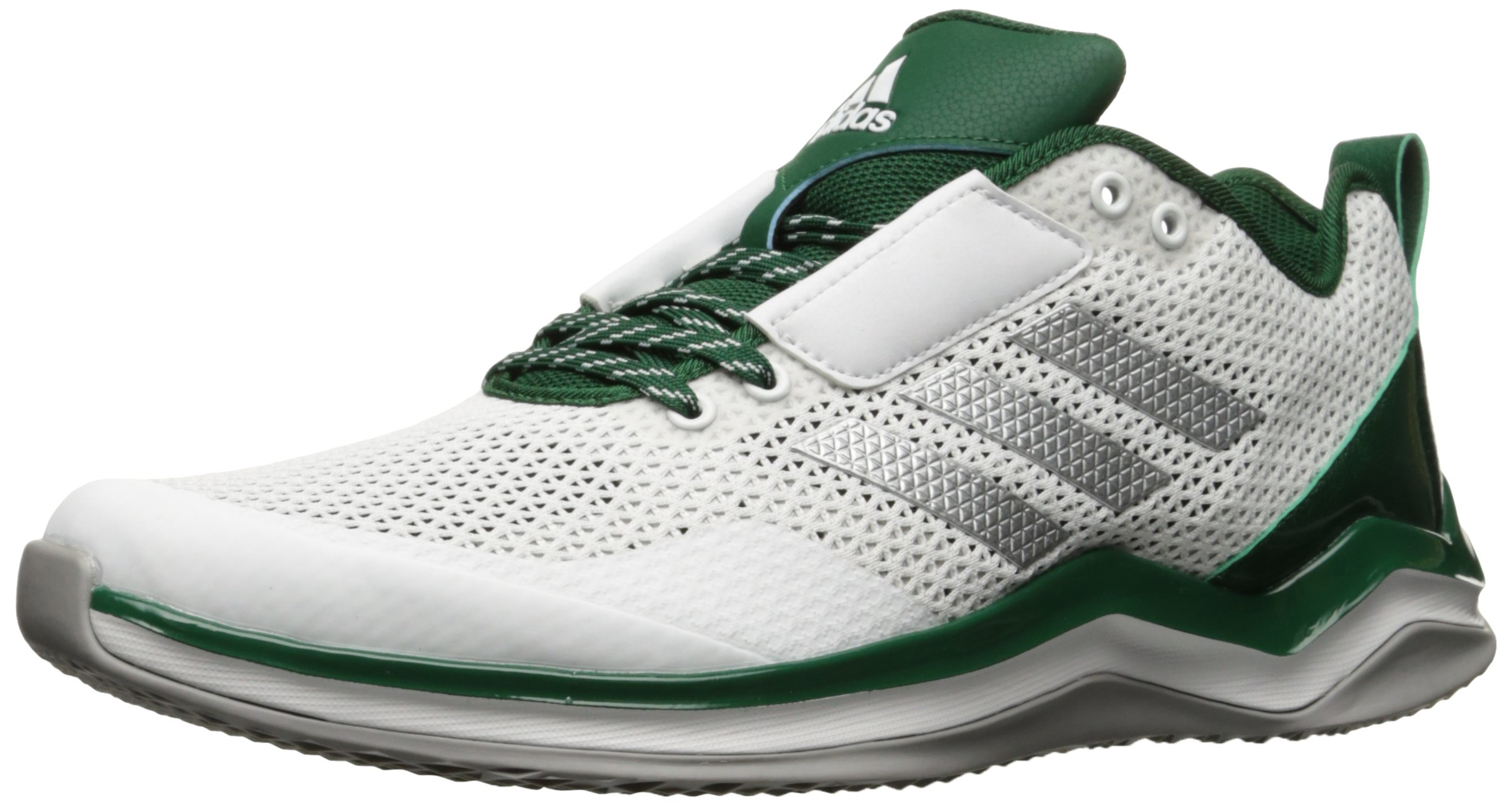 adidas Men's Freak X Carbon Mid Cross Trainer, White/Metallic Silver/Dark Green, (15 M US) by adidas