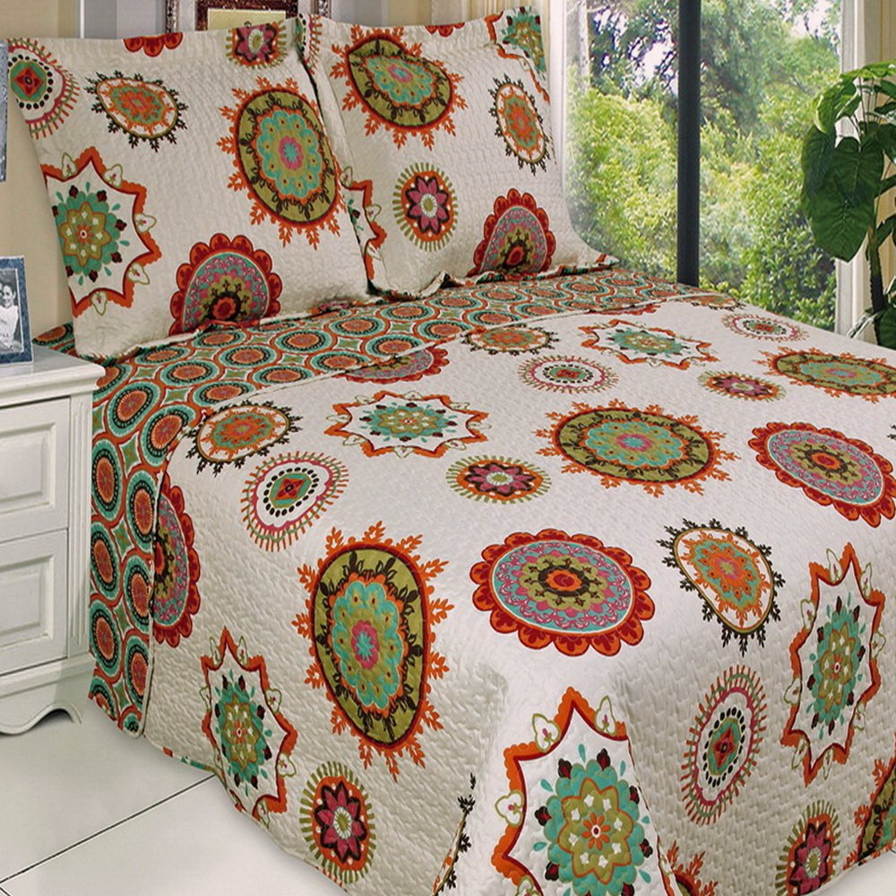 Boho Chic Red Orange Lightweight Quilt Coverlet Set