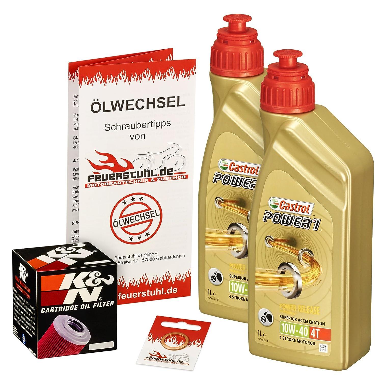 Ölwechselset Castrol Power1 10W-40 Öl + K&N Ölfilter für Yamaha Raptor 700 /SE (YFM 700 R), Bj. 06-15; Motoröl + Filter + Dichtring Feuerstuhl.de