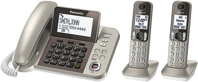 金盒特价 Panasonic 松下 KX-TGF352N 有线/无线电话一拖二套装 5.3折$47.99 海淘转运到手约¥460