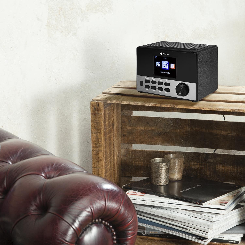 Auna Connect 90 BK /• Radio por Internet /• WLAN /• Digital /• Ecualizador /• Puerto USB para MP3 /• Funci/ón de Alarma /• Modo sue/ño /• Pantalla Color TFT de 3,2 con atenuaci/ón /• Negro