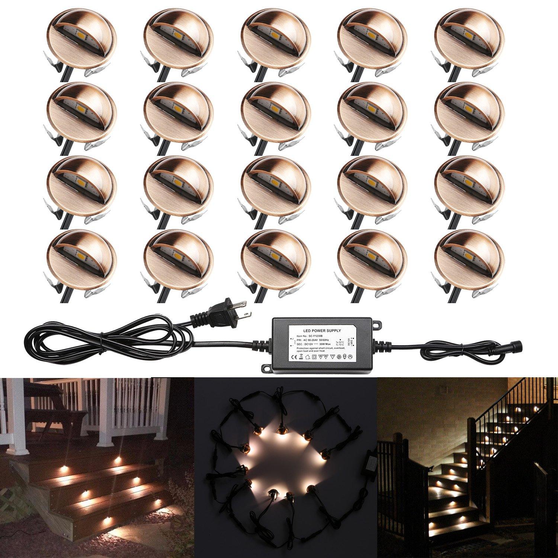 20x QACA Outdooor Deck lights kit Φ1.38'' Low Voltage LED Garden Yard Decoration Lamp Recessed Landscape Pathway Step Stair Warm White LED Lighting, Bronze