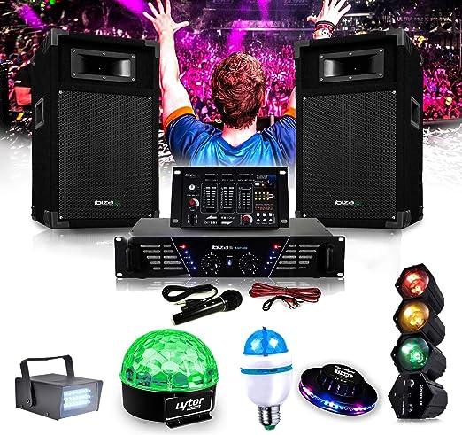 Ibiza dj-300 Kit de megafonía Disco 480 W + Pack 5 juegos de luces ...