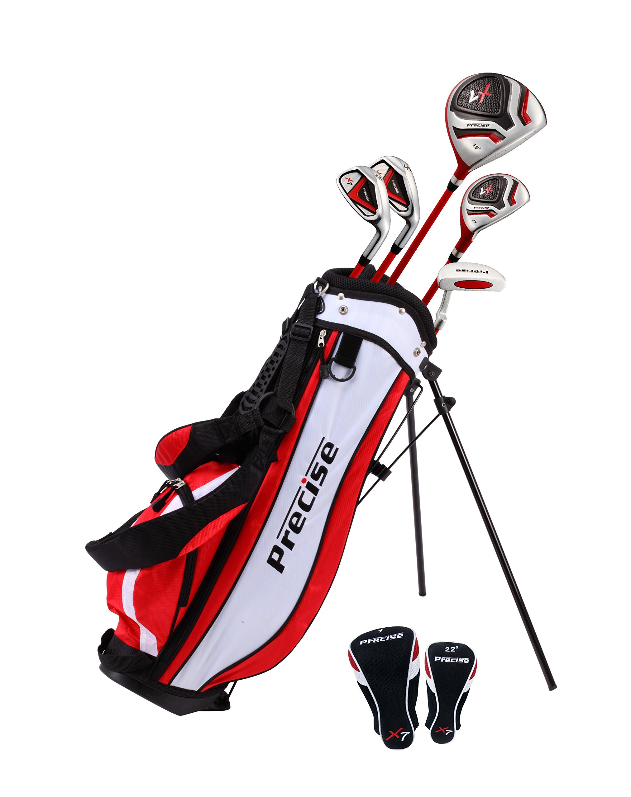 Precise X7 Junior Complete Golf Club Set for Children Kids - 3 Age Groups Sizes Available - Boys & Girls - Right Hand & Left Hand! (Red Ages 6-8, Left Hand) by PreciseGolf Co.