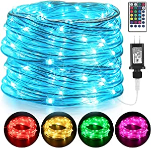 GDEALER Fairy Lights Waterproof Twinkle Lights IP68 40FT 120LED 8 Lighting Modes Rope Lights Color Changing Lights with Remote Plug in for Outdoor Bedroom Wedding Party Christmas Decor- 16 Colors