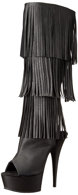 Pleaser Women's Del2019-3/Bpu/M Boot B01ABTALU8 5 B(M) US|Black Faux Leather/Black Matte