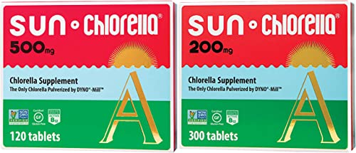 SUN CHLORELLA Chlorella Supplement 200 Mg – 300 Tablets 500 Mg- 120 Tablets