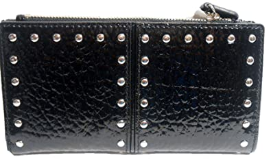 862fe0b4b1c0 Image Unavailable. Image not available for. Color: Michael Kors Astor Black  Patent Leather Silver Studded Clutch Wallet