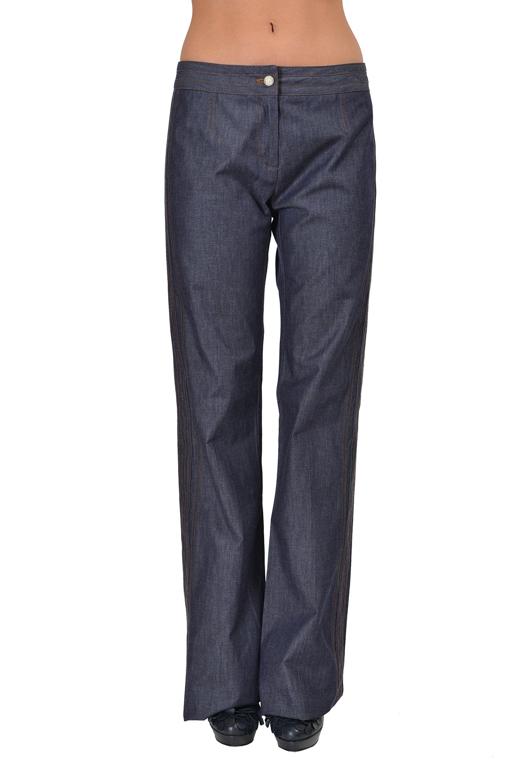 Just Cavalli Women's Blue Boot Cut Casual Pants US 4 IT 40