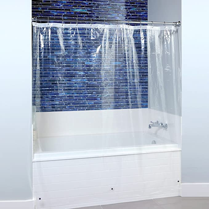 Slipx Solutions Mildew Resistant Clear Shower Curtain Liner With Microban Infused Antimicrobial Protection Peva Bpa Free Odorless Magnetic Weights 70 X 72 3 Gauge Kitchen Dining Amazon Com