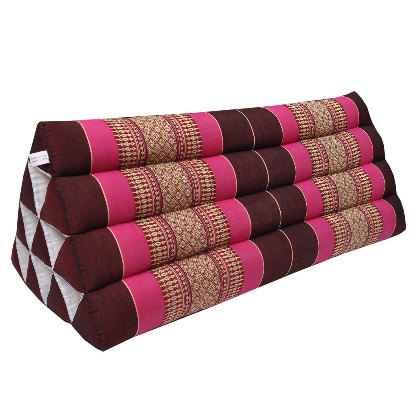 Thai triangular cushion XXL, relaxation, beach, kapok, made in Thailand Bordeaux/Pink (81415) by Wilai GmbH
