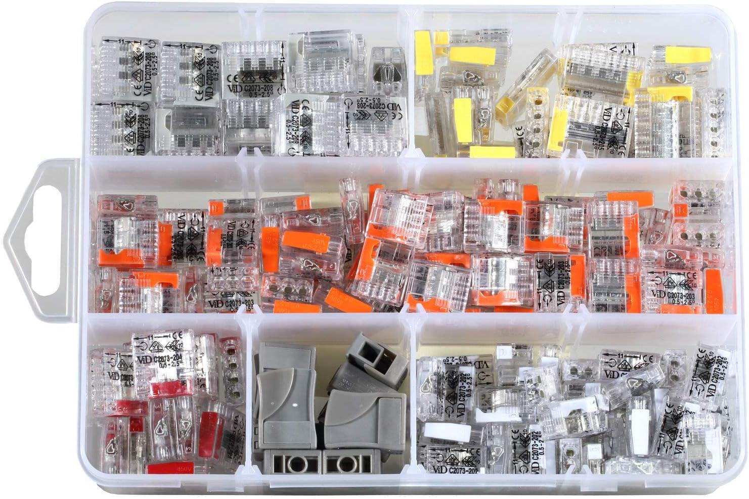 Steckklemmen Sortiment 200 teilig Verbindungsklemme inkl praktischem Sortimentskasten