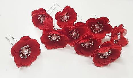 takestop® SET 10 PEZZI FERRETTI FORCINE IN METALLO fiore rosso GLITTER  STRASS PERLA PERLE CHIGNON 6d08b61b3fc8