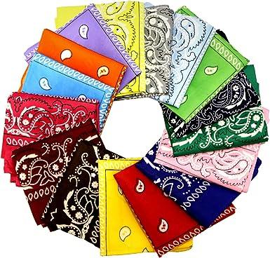 GLOBAL GOLDEN 16 Piezas Bandanas Multicolor Mujeres Hombres Algodón bandanas, Cabeza Cuello Bufanda, Hombre Cuello Pañuelo Mujer Deportivo pañuelos Pañuelos: Amazon.es: Ropa y accesorios