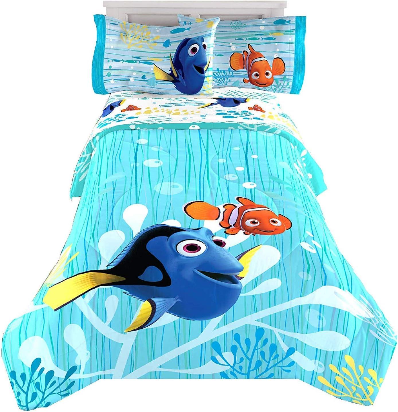 Jay Franco & Sons Disney Pixar Finding Dory with Nemo 4pcs Comforter Set Reversible Twin Size