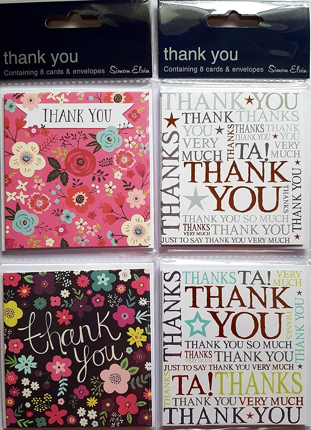 for all occasions multi colour design THANK YOU CARDS simon elvin