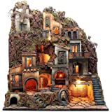 Borgo completo presepe Napoli fontana forno mulino 80x70x40 cm