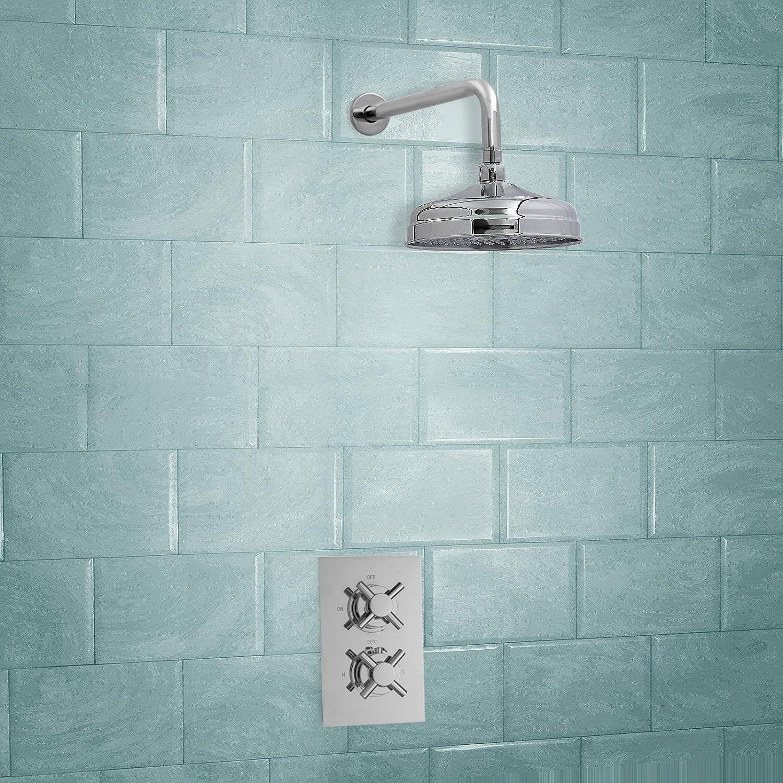 ENKI mezclador ducha termost/ático oculta cruz redondo classico alcachofa lat/ón