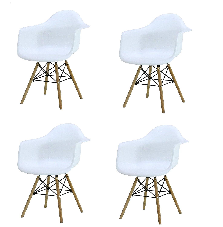 KunstDesign Set di 4 poltrone Stile Eames, Design ergonomico, Gambe in Legno di faggio Naturale