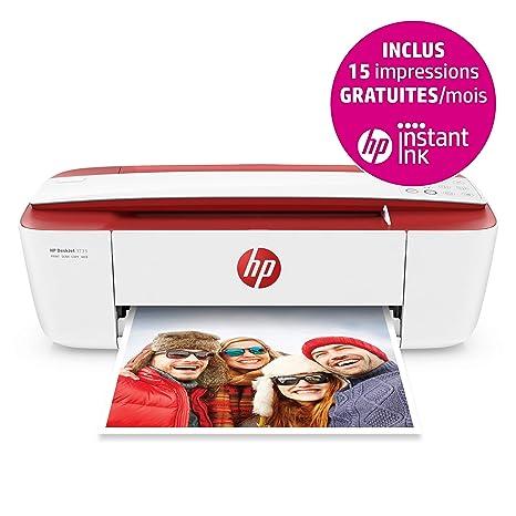 HP Deskjet 3733 - Impresora multifunción (Wi-Fi, USB 2.0, 600 x 600 PPP, Incluido 3 Meses de HP Instant Ink), Color Blanco y Rojo