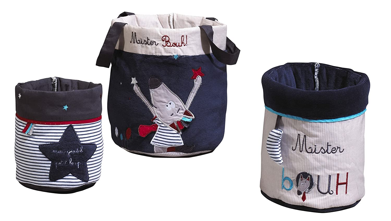 Bleu Sauthon Baby D/éco-Lot de 3 paniers Mister Bouh