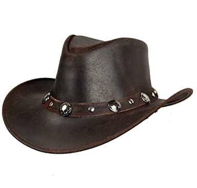 LEATHER COWBOY WESTERN STYLE HAT BROWN QUALITY LEATHER HAT (S (55-56 CM 6838ec9ab369