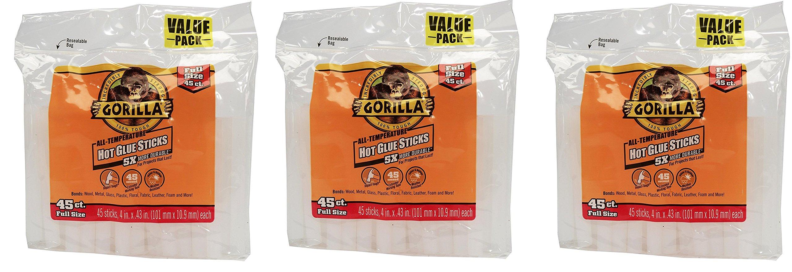 Gorilla, Hot Glue Sticks 4 In., Full Size, 135 Count