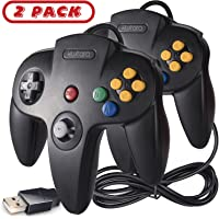 2 Pack Classic N64 USB Controller,kiwitatá Retro N64 Bit Wired PC Controller Gamepad for Windows PC Mac Linux RetroPie…