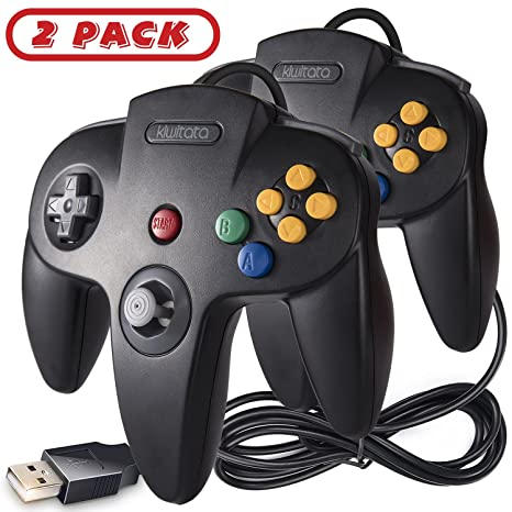 2 Pack N64 Classic USB Controller, kiwitatá Retro N64 Bit USB Wired PC Game  Controller Gamepad Joystick for Windows PC & Mac Retro pie Black