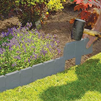 10 pack dark grey cobbled stone effect garden lawn edging plant