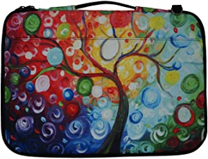 Meffort Inc 14-15.6 Inch Printed Canvas Laptop Sleeve Protective Case, Compatible with Ultrabook Notebook Asus Acer Lenovo Dell HP Toshiba Computers - Colorful Tree