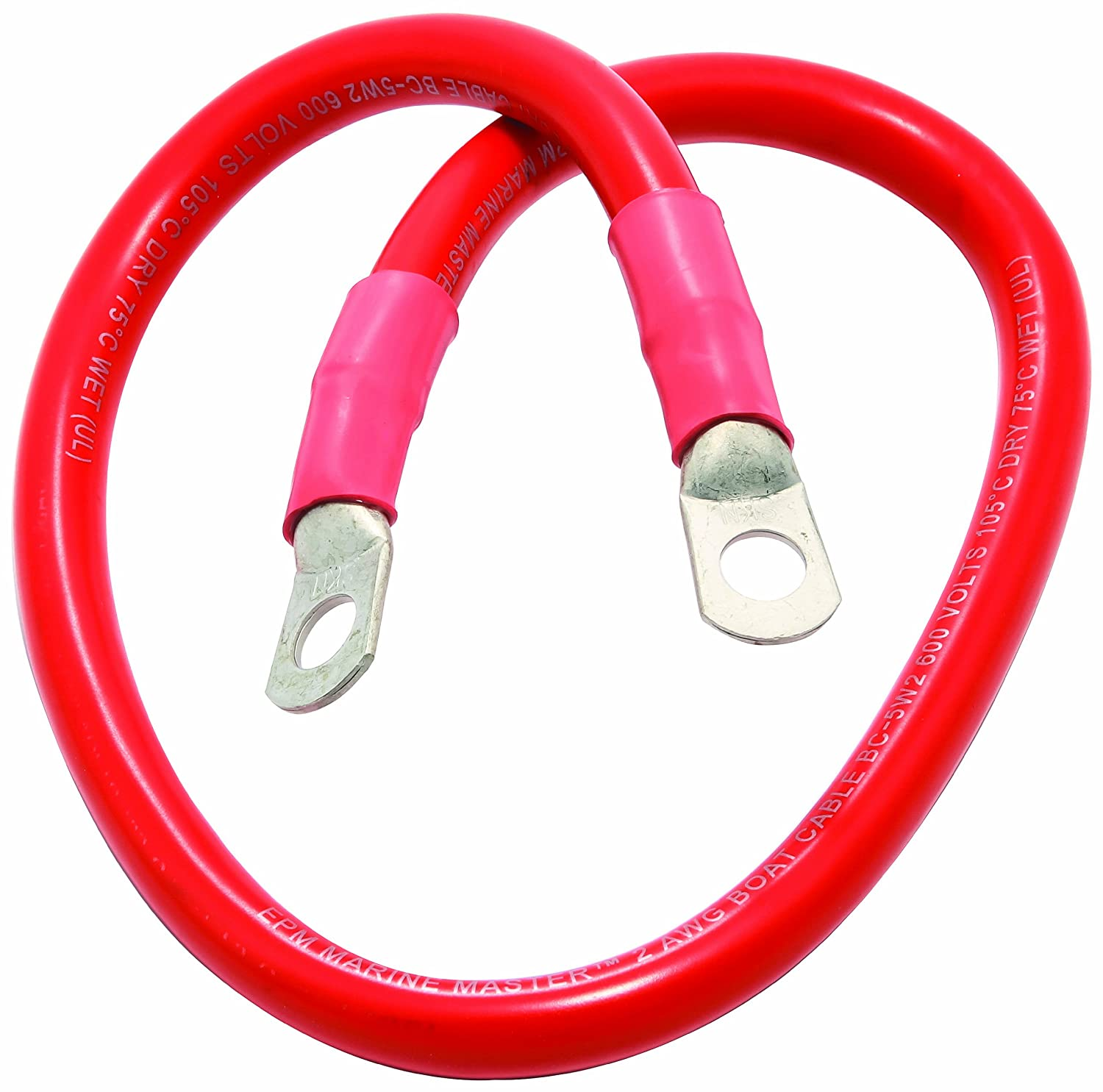 Camco 47451 Red 3//8 Stud 32 Long 4-Gauge Marine Battery Cable and Lug Assembly Tinned