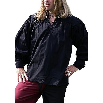 Medieval Chemise, noir en coton–Larp–Viking–Gothic–Chemise Pirate