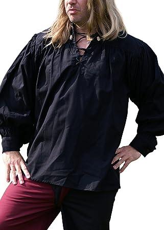 Battle Merchant Camisa Medieval, Negro de algodón Larp – Vikingo – Gothic – Camisa Pirata