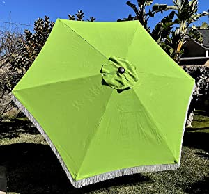 BELLRINO Decor Replacement Tassel Edge Apple Green Umbrella Canopy for 9ft 6 Ribs (Canopy Only) C003-6A-APPLE