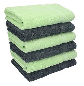 Betz 8er Handtuch Set PALERMO  2 Duschtücher 6 Handtücher anthrazit grün