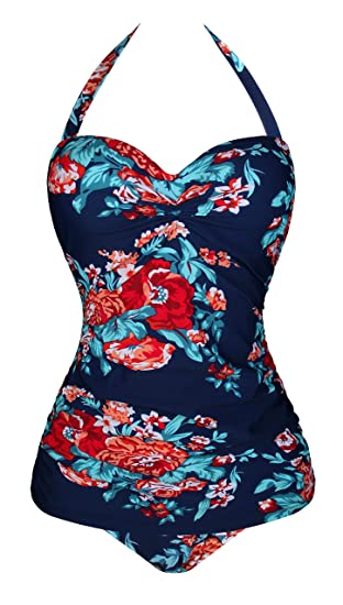 Angerella Retro 50s Pin Up Halter Una Pieza Traje de baño ...