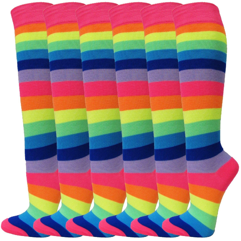 SocksKnee Ladies Colorful Variety Design Assorted Knee High Fashion Socks SRK22-USHSR433-MIX-5P