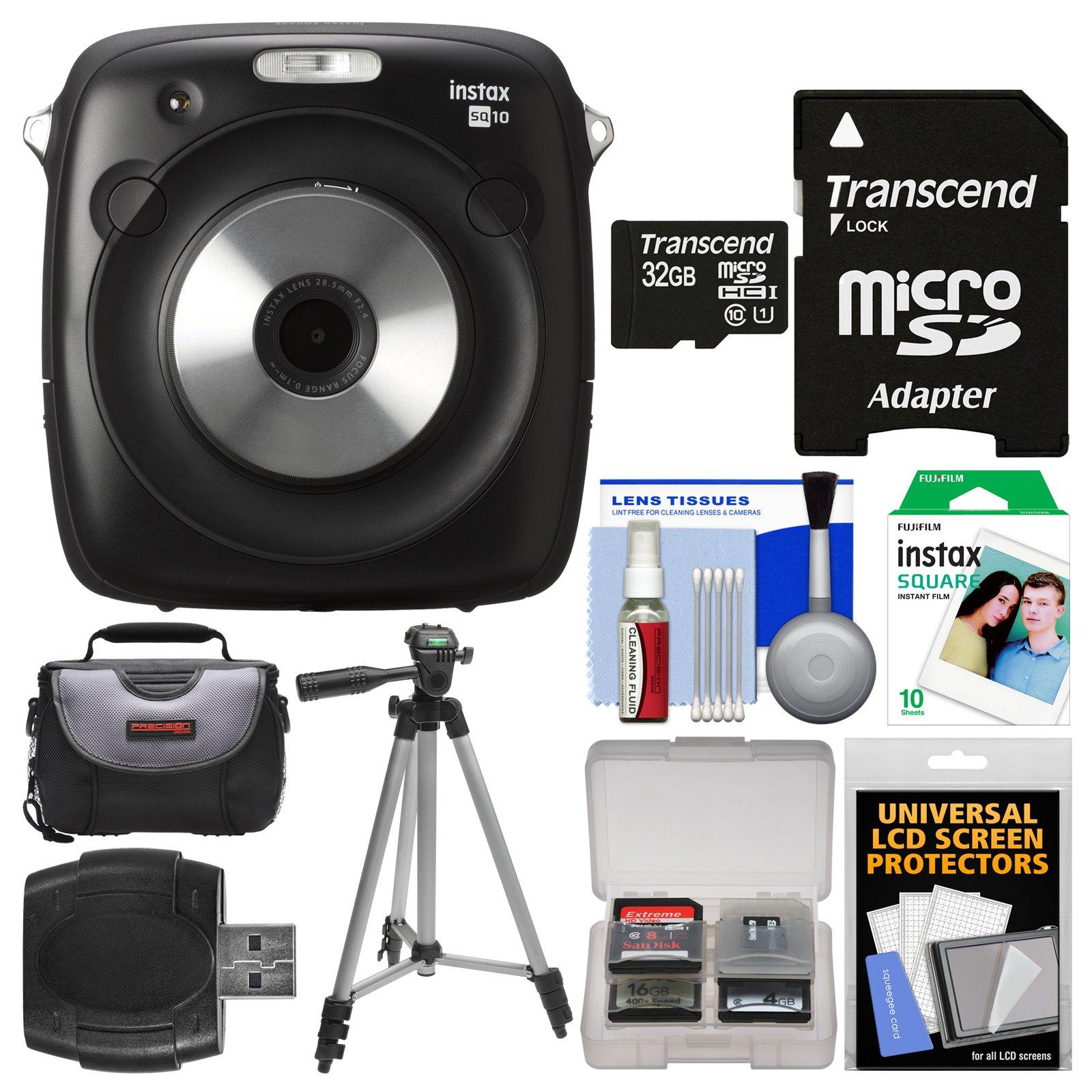 Fujifilm Instax Square SQ10 Hybrid Instant Film & Digital Camera with 32GB Card + 10 Color Prints + Case + Tripod + Kit
