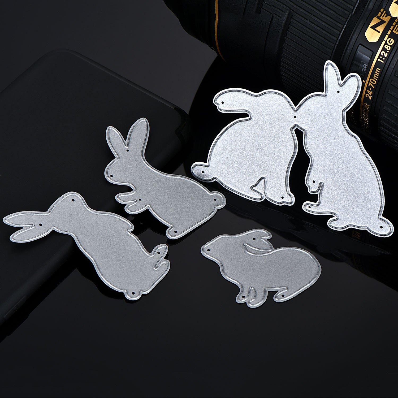 Amazon.com: Hicarer 4 Pieces Bunny Cutting Dies Metal Stencil ...