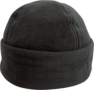 Unisex Black Polar Fleece Winter Ski Bob Hat Warm Cuffed Beanie