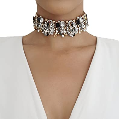 Nikita By Niki Gold Luxury Statement Crystal Rhinestone Choker Necklace