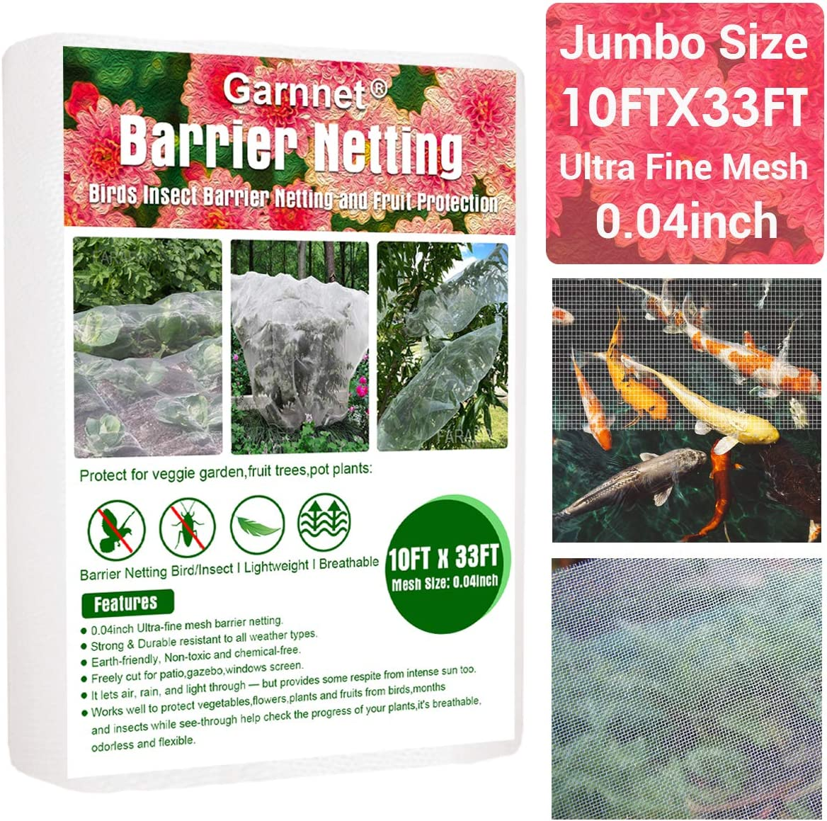 Garden Barrier Netting, 10ftx33ft Ultra Fine Mesh Netting Protection Screen Bird Net Plant Covers Row Cover Protect Plants Fruits Flowers Against Birds & Squirrels for Greenhouse Patio