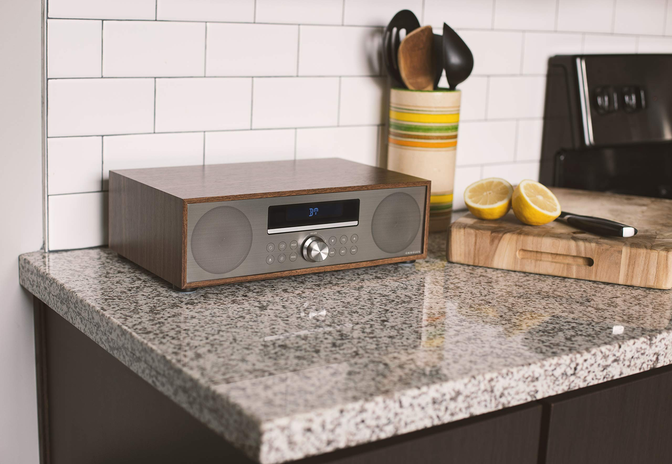 Crosley CR3501A-WA Fleetwood Bluetooth FM Clock Radio and CD Player, Walnut by Crosley (Image #8)