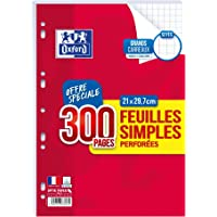 Oxford - Feuilles Simples Perforées Blanches - Format A4 - 21 x 29.7 cm - Grands Carreaux Seyes - Lot de 300 Pages